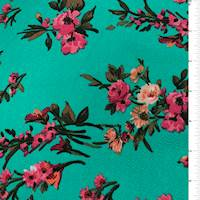 Sea Green Floral Textured Liverpool Knit