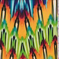 *3 5/8 YD PC--Rainbow Flamestitch Crepe de Chine