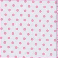 *3 1/4 YD PC--White/Creamy Pink Polka Dot Textured Liverpool Knit