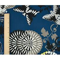 *2 1/2 YD PC--Ocean Blue/Multi Butterfly Floral Print Crepe De Chine