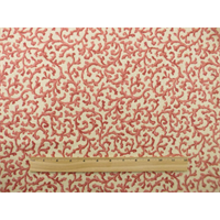 *1 YD PC--Ivory/Coral Pink Waverly Savoy Print Home Decorating Fabric