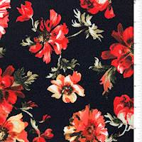 Black Floral Textured Liverpool Knit