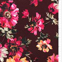 Burgundy Floral Textured Liverpool Knit