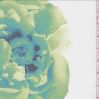 *2 3/8 YD PC--White/Lime/Aqua Floral Activewear Knit