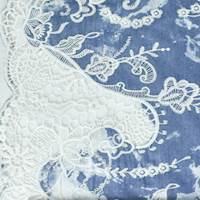 Blue/White Floral Laser Cut Embroidered Lace Bleached Denim