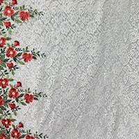 Red/White/Multi Floral Embroidered Lace