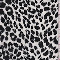 *1 1/8 YD PC--White/Black Animal Print Velveteen
