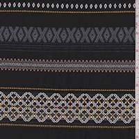 *2 1/2 YD PC--Black Inca Embroidered Stripe Challis