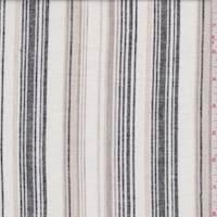 *1 YD PC--White/Slate/Tan Stripe Linen Blend
