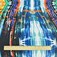 *5 YD PC--Mint Teal/Black/Multi Abstract Tribal Print Crepe Faille