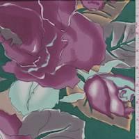 *3  1/2 YD PC--Emerald/Mauve Floral Crepe de Chine