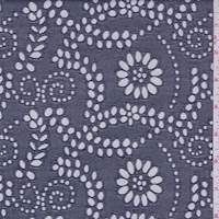 *2 YD PC--Dark Navy Floral Eyelet Denim