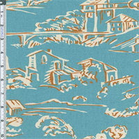 *2 1/4 YD PC--Aqua Blue Village Toile Print Home Decor Cotton