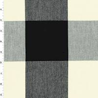 *4 5/8 YD PC--Black/Ivory Rib Checkered Plaid Home Decorating Fabric