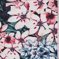 *2 1/2 YD PC--Blush Multi Tropical Floral Jersey Knit