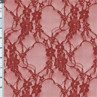 *1 YD PC--Brick Red Twined Floral Stretch Lace Knit