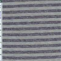 *4 3/8 YD PC--Navy/Grey Burnout Stripe Jersey Knit