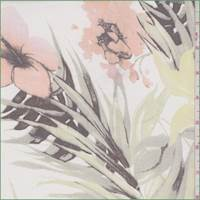 *3 1/4 YD PC--White Multi Tropical Floral Silk Chiffon