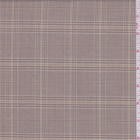 *1 1/4 YD PC--Tan/Brown Plaid Polyester Suiting