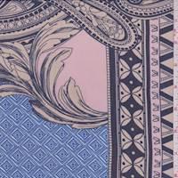 Blue/Pink/Tan Baroque Chiffon