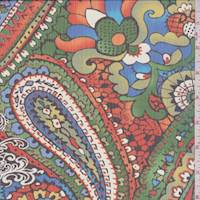 Green/Red Multi Paisley Crinkle Chiffon