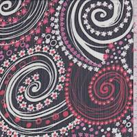 Black/Red/Pink Daisy Swirl Crinkle Chiffon