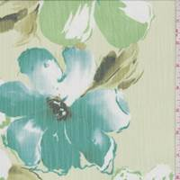 Citrine Green Floral Crinkle Chiffon