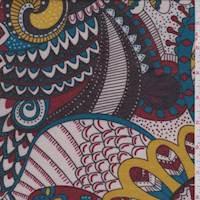 Mocha/Crimson/Teal Apache Floral Jersey Knit