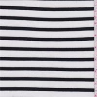 *2 YD PC--White/Black Stripe Rib Jersey Knit