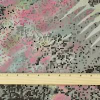 *1 3/4 YD PC--Gray/Pink/Multi Pixel Watercolor Print Charmeuse