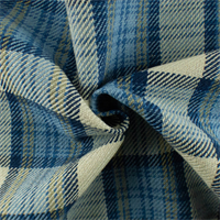 *3 1/4 YD PC--Blue/Multi Cotton Plaid Twill  Woven Home Decorating Fabric