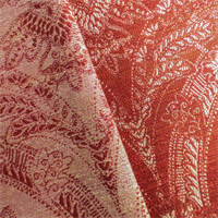 *2 1/2 YD PC--Autumn Red Ivory Paisley Jacquard Home Decorating Fabric