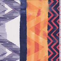 Purple/Orange/White Chevron Stripe Crepe De Chine