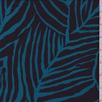Teal/Black Abstract Leaf Crepe De Chine