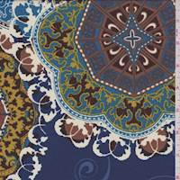 Slate Blue Multi Medallion Crepe De Chine