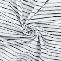 *1 1/4 YD PC--Black/White Cotton Texture Stripe Jersey Knit