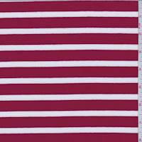 *1 3/8 YD PC--Apple Red/White Stripe Jersey Knit