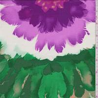 Purple/Buff/Green Floral Burst Rayon Challis