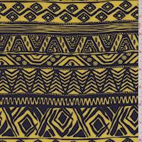 Yellow/Plum Aztec Stripe Rayon Challis