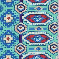 Mint/Blue/Orange Aztec Medallion Rayon Challis