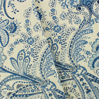 *7 1/2 YD PC--Blue/White Cotton Floral Paisley Home Decorating Fabric