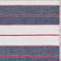 *1 YD PC--Denim Blue Stripe Linen Blend