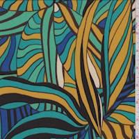 *3 YD PC--Aqua Green Multi Tropical Leaf ITY Jersey Knit