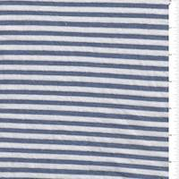 *3 YD PC--White/Denim Blue Stripe Jersey Knit
