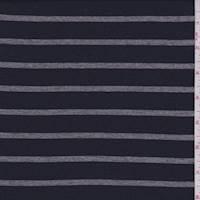 *4 7/8 YD PC--Dark Navy/Grey Stripe Cotton Jersey Knit