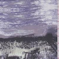 *1 3/4 YD PC--Purple/Black Seismic Stripe Silk Chiffon
