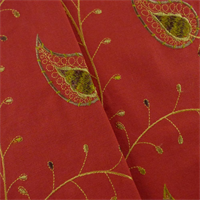 *2 1/2 YD PC - Red/Multi Vine Embroidered Home Decorating Fabric