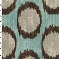 *4 YD PC--Teal/Brown Ikat Circle Print Canvas Home Decorating Fabric