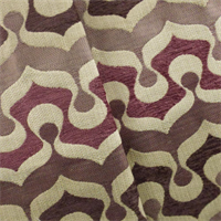 *3 7/8 YD PC - Mauve/Multi Retro Chenille Jacquard Home Decorating Fabric