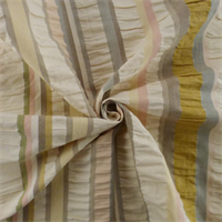 *1 YD PC - Ivory/Multi Seersucker Stripe Home Decorating Fabric